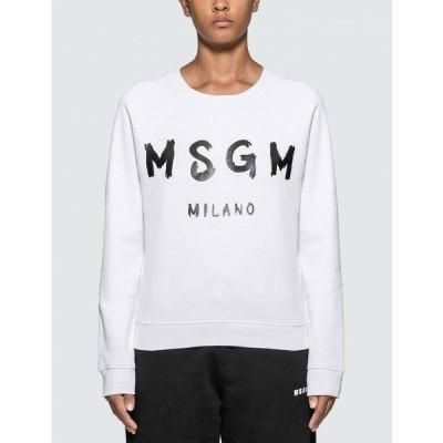 エムエスジーエム MSGM レディース スウェット・トレーナー トップス Blush Logo Sweatshirt Optical White