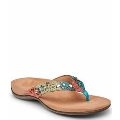 バイオニック レディース サンダル シューズ Lucia Snake Print Rhinestone Embellished Thong Sandals Blue Teal