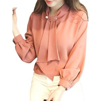 [リザウンド] レディース シフォン ブラウス 長袖 トップス ファッション オフィス れでぃーす ぶらうす しふぉん れーす レディス れでぃす レ