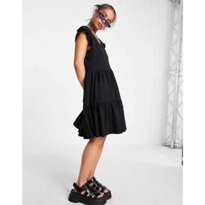 オンリー Only レディース ワンピース Vネック ミニ丈 ワンピース・ドレス mini dress with v neck and tirering in black ブラック