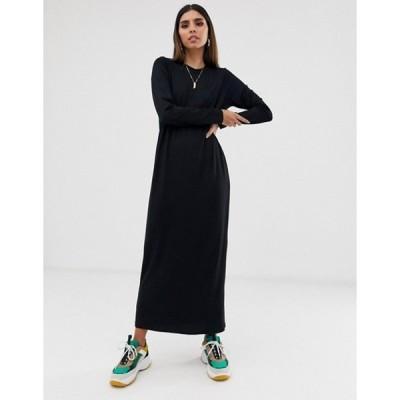 エイソス レディース ワンピース トップス ASOS DESIGN long sleeve maxi t-shirt dress in black