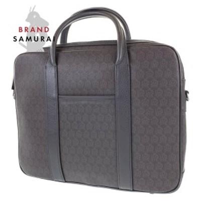 美品 Dunhill ダンヒル A4対応 ブラウン PVC/レザー 2WAY ショルダーバック ビジネスバッグ ブリーフケース メンズ 103886