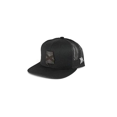 Branded Bills Alabama 'Midnight 22' Black Leather Patch Hat Flat Trucker -