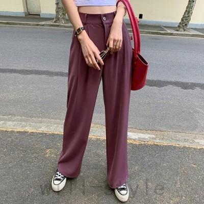 スラックスワイドパンツ韓国オルチャンストリートダンス衣装きれいめオフィスタック原宿系ボトムス