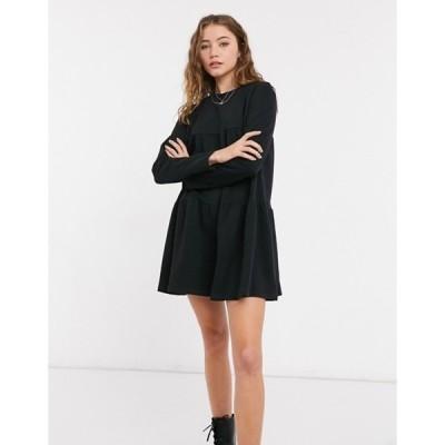 ベルシュカ レディース ワンピース トップス Bershka long sleeve tiered T-shirt smock dress in black
