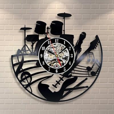 時計 壁掛け時計 歯車時計 ビニールレコード アナログ 数字 音楽モチーフ シルエットデザイン ギター 楽譜 音符 ドラム 楽器 インテリア性 アンテ