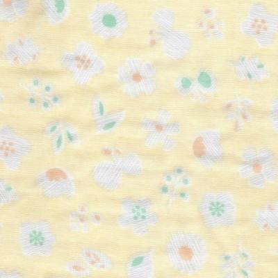 ダブルガーゼプリント/花もよう7/イエロー系 5色 1m単位 アウトレット ポイント