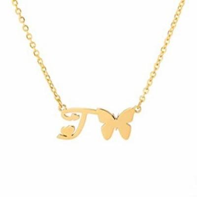 Silove バタフライイニシャル文字ネックレス ゴールドチョーカーチャームネックレス ステンレススチールバースデージュエリーギフト 女性