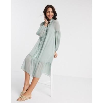 リバーアイランド レディース ワンピース トップス River Island long sleeve ruffle smock midi dress in sage green