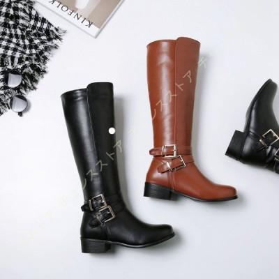 大きいサイズ ロングブーツ ジョッキーブーツ バックル レディース 美脚 履きやすい ロング 黒 レディースブーツ ローヒール 防水 防滑 低ヒール 靴 長靴