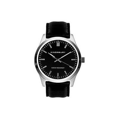 Swiss Movement Mens Watch Black Dial Silver Case Leather Strap Watches