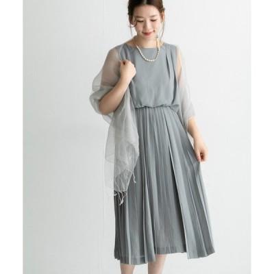ドレス アシメプリーツミディドレス