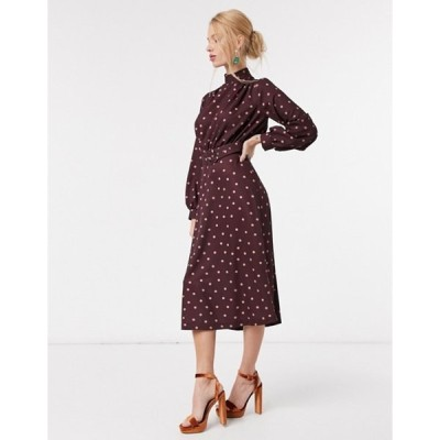 クローゼットロンドン レディース ワンピース トップス Closet London high neck belted midi dress in burgundy with blush dot print