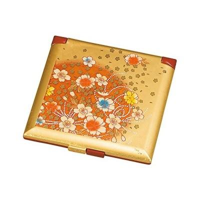 山中塗 箔工芸 角 コンパクトミラー 花丸 M16336-0
