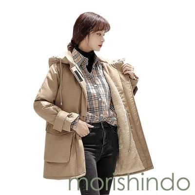 裏起毛 ダウンジャケット レディース 冬服 ミドル丈 大きいサイズ ゆったり 厚手 中綿コート フード付き 防寒 防風 暖かい 体型カバー