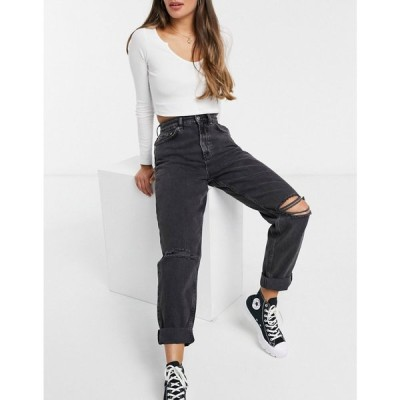 エイソス ASOS DESIGN レディース ジーンズ・デニム ボトムス・パンツ high rise 'slouchy' mom jeans in washed black with rips ウォッシュブラック