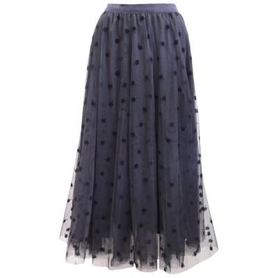 フロッキープリントチュールロングスカート(ブラック)