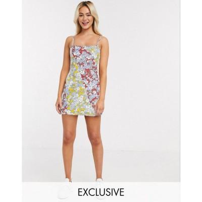 ウェンズデーガール ミニドレス レディース Wednesday's Girl mini cami dress in summer floral エイソス ASOS マルチカラー