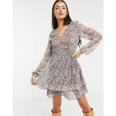 ヴィラ Vila レディース ワンピース ミニ丈 ワンピース・ドレス Mini Dress With Plisse Hem In Brown Floral ブラウンフローラル