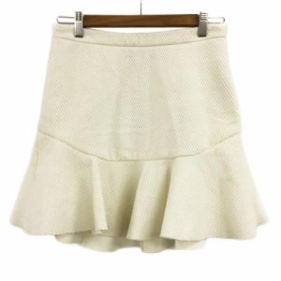 【中古】ザラウーマン ZARA WOMAN スカート フレア マーメイド ミニ ワッフル USA XS 白 ホワイト レディース