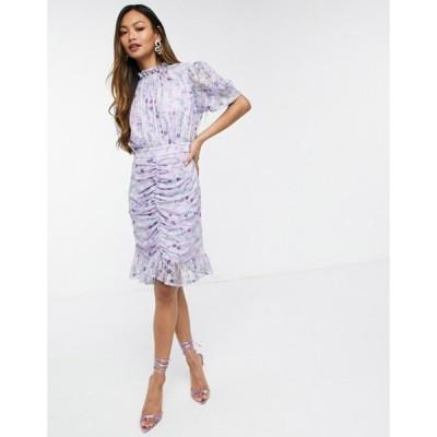 フォーエバー ユー レディース ワンピース トップス Forever U mini dress with mesh ruching in lilac floral