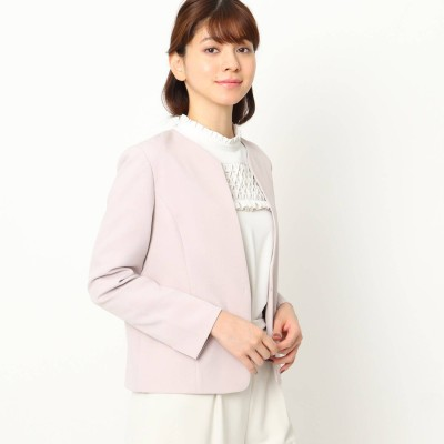クチュール ブローチ Couture brooch 【ママスーツ/入学式 スーツ/卒業式 スーツ】カラーレスジャケット (ピンク)