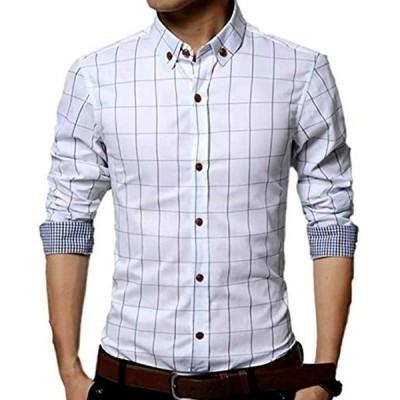 メンズ チェック 柄 シャツ 長袖 カジュアル ワイシャツ 大きいサイズ も ビジネス ボタン L,(ホワイト, L)