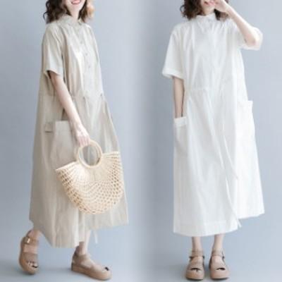 シャツワンピース 半袖 夏 白シャツ トップス 体型カバー ロングシャツ レディース ロング丈 シャツワンピ 30代 40代
