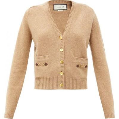 グッチ Gucci レディース カーディガン トップス Horsebit-embellished cashmere cardigan Camel