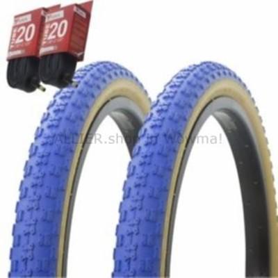 """BMX 1ペア! 自転車用自転車用タイヤ チューブ20 """"x 2.125""""ブルー/ガムサイドウォールBMX COMP3  1PAI"""
