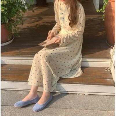 韓国 ファッション レディース ワンピース ロング 花柄 ドット 背中あき ゆったり 透け感 上品 ハイウエスト フレア 長袖 大人可愛い フ