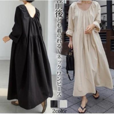 春の新作/韓国のファッションロングシャツの夏のシャツのワンピースの大サイズ 前後とも着られる Vネック ワンピース 痩せる 大サイズ 全