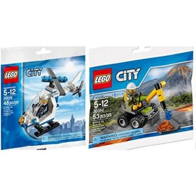 レゴ おもちゃ Lego City Police Helicopter 30226 + Volcano Jackhammer Set 30350 Mini figure Set LEGO Polybag edition Building Set