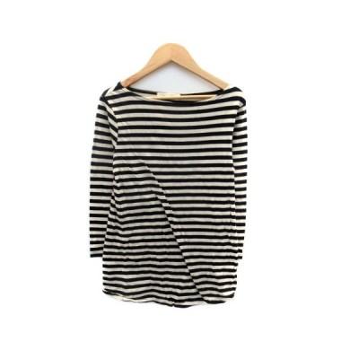 【中古】メリアビームス Merrier BEAMS Tシャツ カットソー ラウンドネック 七分袖 ボーダー柄 ベージュ 黒 ブラック /HO42 レディース 【ベクトル 古着】