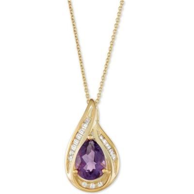 """メイシーズ Macy's メンズ ネックレス Amethyst (1 ct. t.w.) & Diamond (1/10 ct. t.w.) 18"""" Pendant Necklace in 14k Gold Amethyst"""
