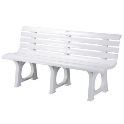 ガーデン ベンチ Lベンチ 2人掛け 椅子 幅145.5×奥行52×高さ73.4cm ポリプロピレン樹脂 ホワイト 白 1脚単位 軽量 屋外 雨ざらし 組み立て式 おしゃれ