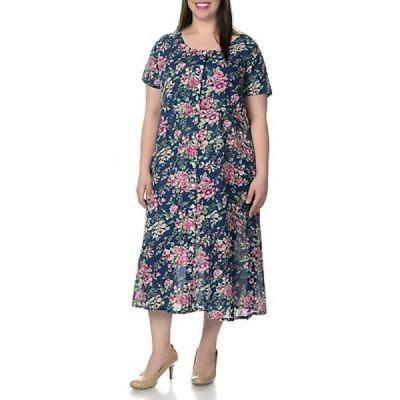 ラセラ ドレス La Cera Women's Plus Size Floral Pint Short Sleeve Casual House Dress