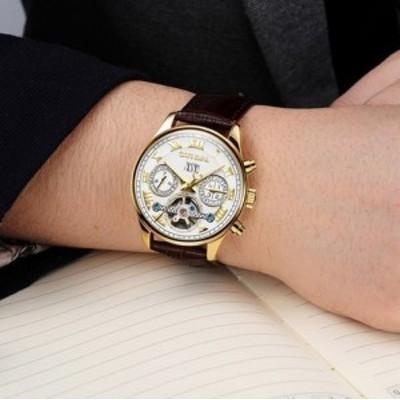 海外ブランド 高級腕時計 メンズ ラグジュアリー Carnival 防水 自動巻 機械式腕時計 トゥールビヨン ホワイトレザー