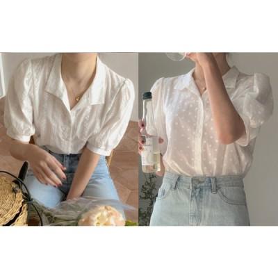 全2色 シャツ ブラウス 刺繍 切り替え 体型カバー 着痩せ レース シンプル sweet系