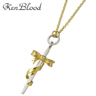 ケンブラッド KEN BLOOD クロス & リボン シルバー ネックレス ダイヤモンド ゴールド