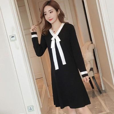 Aラインニットワンピース モノトーン セクシー ナイトドレス キャバ ギャル 韓国ファッション レディース ドレス