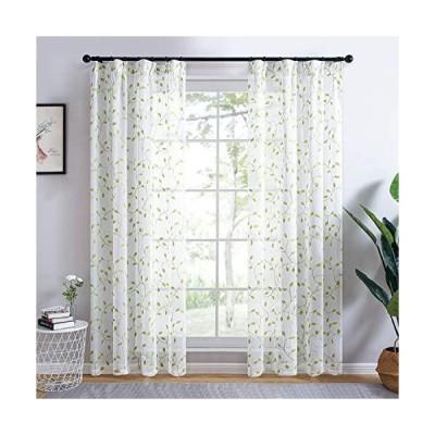 Topfinel レースカーテン UVカット 遮熱 断熱 省エネ 自然 葉 おしゃれ 可愛い 洗える 幅100cm×丈178cm 2枚組