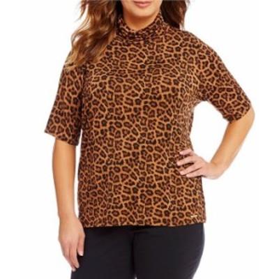マイケルコース レディース Tシャツ トップス Plus Leopard Print Knit Jersey Short Sleeve Turtleneck Top Caramel