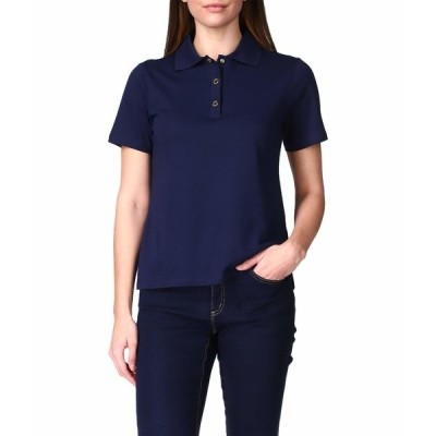 マイケルコース シャツ トップス レディース Solid Snap Short Sleeve Polo Midnight Blue