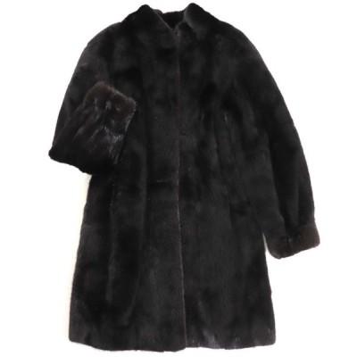 毛並み美品▼SAGA MINK サガミンク 裏地花柄刺繍入り 本毛皮コート ブラック F 毛質艶やか・柔らか◎