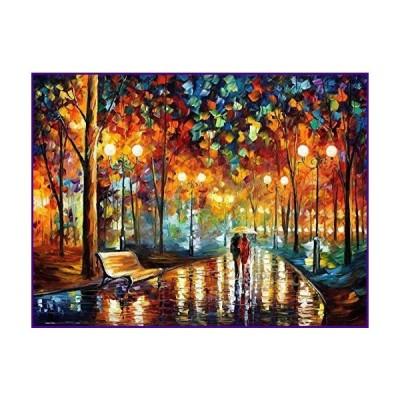 Queenie ロマンチック 1000ピース カップル 恋人 雨の夜 散歩 抽象 油絵 ストリート ナイトシーン 大人 ゲー