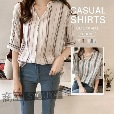 ブラウス シャツ レディース 半袖 リネンシャツ トップス 大きいサイズ ストライブ シャツ ブラウス 綿麻 カジュアル