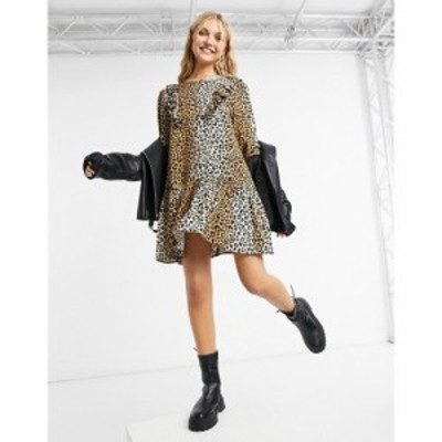 ミス セルフリッジ Miss Selfridge レディース ワンピース ミニ丈 ワンピース・ドレス mini smock dress in leopard print キャメル