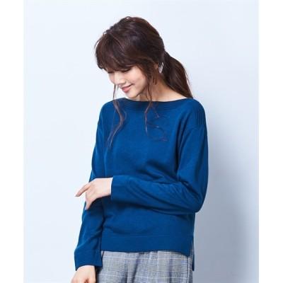 思いっきり洗える前後差ボートネックニット (ニット・セーター)(レディース)Knitting, Sweater, テレワーク, 在宅, リモート