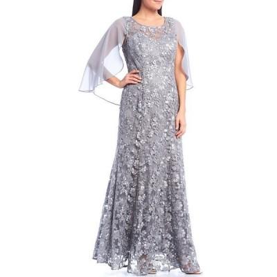 イグナイトイブニングス レディース ワンピース トップス Chiffon Cape Embroidered Lace Gown Silver